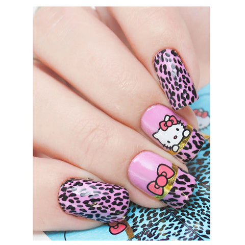 S344 Helloy Kitty Leopard Print Foil Flowers Water Transfer Nail Art Decal can be used on nail varnish and gel polish.
