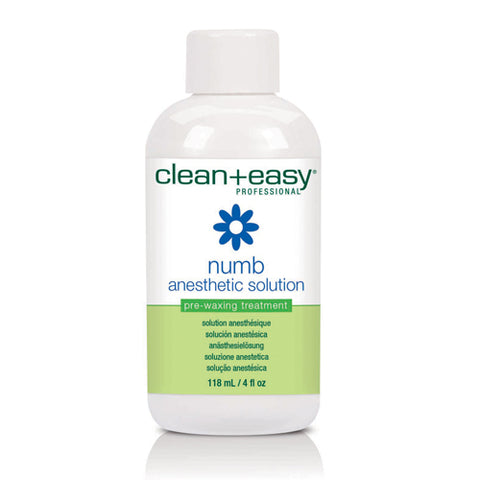 Clean+easy Numbing Antiseptic Lotion 118ml in dispenser bottle to numb skin slghtly before wax procedures