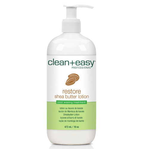 Clean+easy Restore After Wax Cleanser in 473ml pump bottle helps restore moisture in skin after waxing