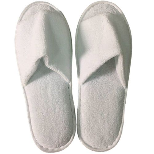 White Velour Open Toe Slippers Pair