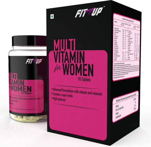 FitZup Multivitamin Women with 15+ Advance Rare Minerals. Green Tea Extract. Grapeseed Extract. Evening Primrose Oil. 90 Tablets (90 No)