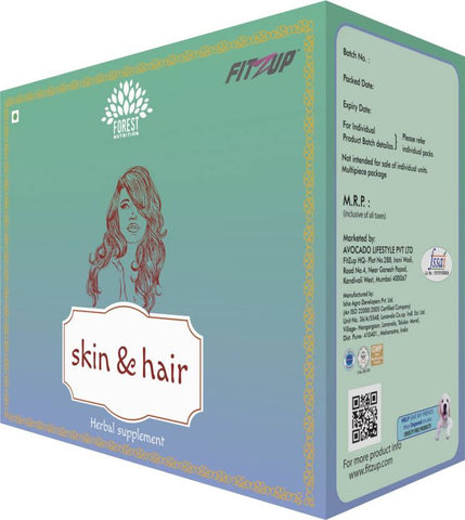 FitZup Skin & Hair Kit (Vienna and Sicily). Herbal Supplement for Radiant Skin. Thicker Hair. 180 Tablets/Capsules (180 No)