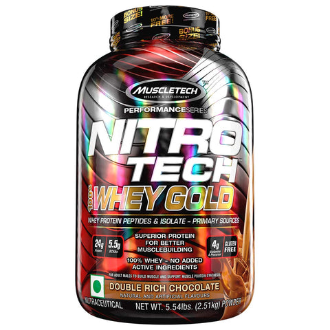 MuscleTech Performance Series NITRO TECH 100% WHEY GOLD BONUS DOUBLE RICH CHOCOLATE 5.53LBS