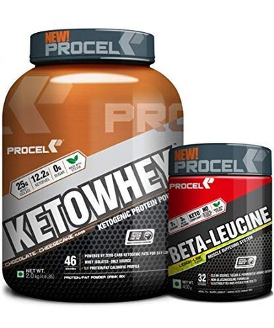 PROCEL® Keto Stack KETOWHEY® 2kg (Chocolate Cheesecake) + BETA-LEUCINE Keto BCAA 400g (Lemon-Lime) Saver Pack