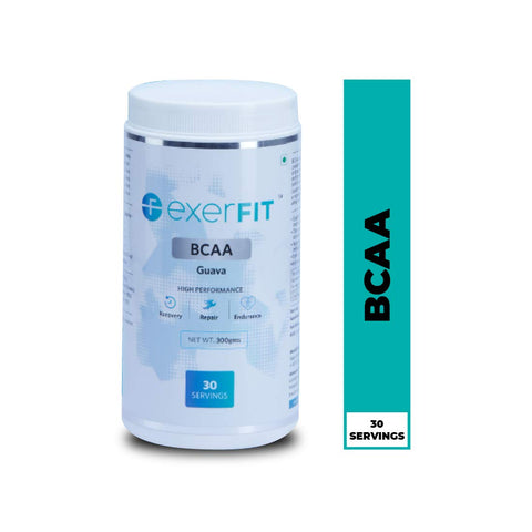 Exerfit® BCAA 2:1:1 for Pre/Intra/Post Workout with L-Leucine, L-Isoleucine, L-Valine and Muscle Activation Boosters - 300 gms (Guava) Flavour