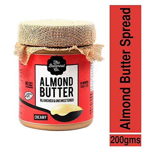 The Butternut Co. Blanched (Without Skin) Unsweetened Almond Butter, Crunchy Jar, 200 g