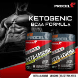 PROCEL® BETA-LEUCINE Powder Keto BCAA Supplement with 4X Leucine & Beta Alanine 400g (Lemon-Lime)