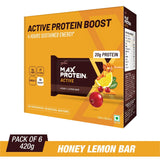 RiteBite Max Protein Active Honey Lemon Bars - 420g (Pack of 6)