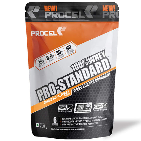 PROCEL® PRO-STANDARD 100% Whey Protein Isolate Powder with Hydrolyzed Whey Peptides - Trial Pack 200g (Mango Lassi)