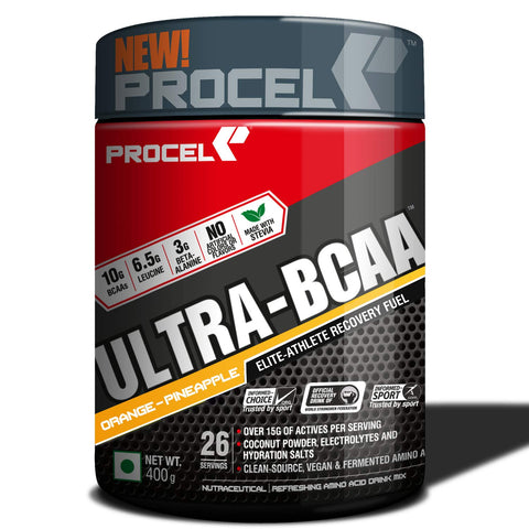 PROCEL® ULTRA-BCAA Powder 4:1:1 with 2X Leucine & Beta Alanine + Coconut Water & Electrolytes 400g (Orange-Pineapple)