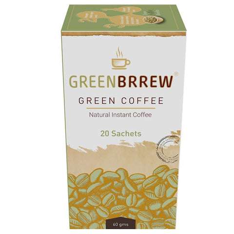 Greenbrrew Instant Green Coffee for Weight Loss, 60g (Natural, 20 Sachets) Each 3g (Easy to use)