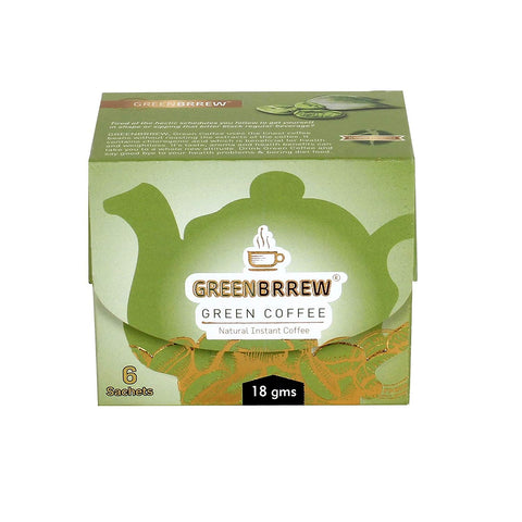 Greenbrrew Instant Green Coffee with Probiotics - 6 Sachets/ Per Pack (18g x Pack of 3)