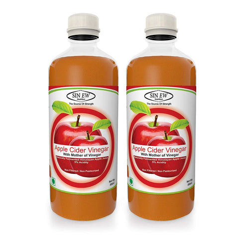 Sinew Nutrition Apple Cider Vinegar with Strands of Mother, 500 ml (Pack of 2)