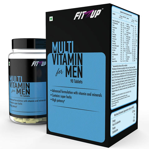 FitZup Multi Vitamin for Men with 4 Gs Gingko Biloba. Ginseng. Green tea extract. Grapeseed extract. 90 Tablets (90 No)