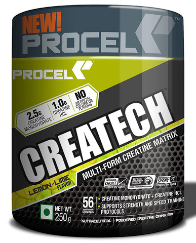 PROCEL® CREATECH Multi-form Creatine Supplement with Creatine HCL & Creatine Monohydrate Powder 56 servings 250g (Lemon-Lime)