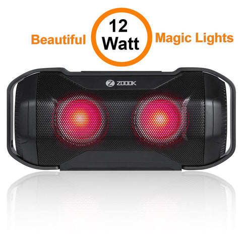 Zoook Rocker Jam 12W Bluetooth Speaker with Superior Sound Quality/Flashing LED Lights/TF/Aux-in/Handsfree Calling/Party Speaker (Black)