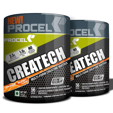 PROCEL® CREATECH Multi-form Creatine Supplement with Creatine HCL & Creatine Monohydrate Powder 56 servings 250g (Orange-Burst) Pack of 2