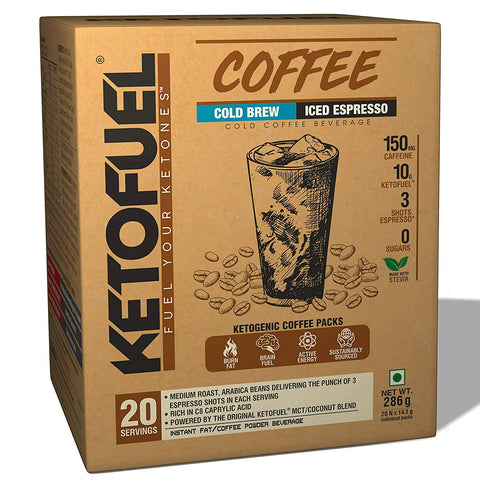 KETOFUEL® Coffee Cold Brew (Iced Espresso) Keto Coffee Powder with Coconut & MCT Oil 20 pks