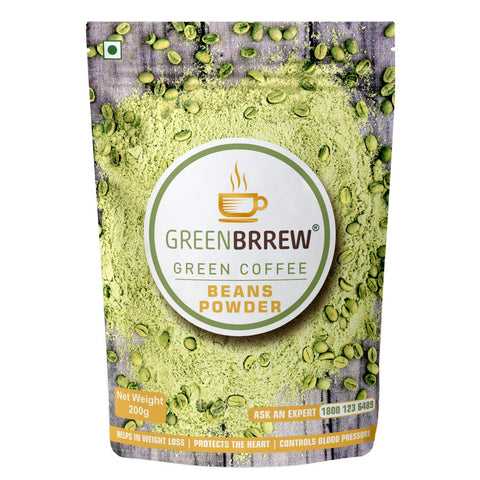 Greenbrrew 100% Arabica ('PL-AAA') Green Coffee Beans Powder for Weight Loss - 200gm