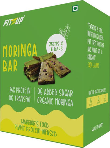 FitZup Plant Protein Infused Moringa Nutrition Bars (75 g. Moringa)