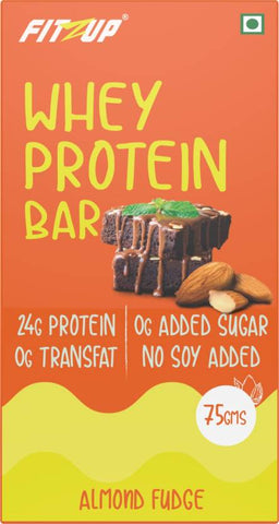 FitZup Almond Fudge Whey Protein Bar Protein Bars (75 g. Almond Fudge)