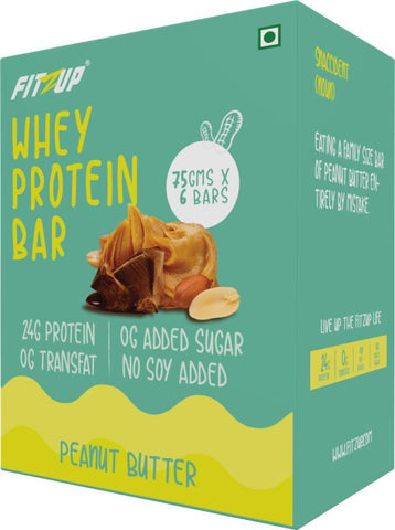 FitZup Peanut Butter Whey Protein Bar Protein Bars (75 g. Peanut Butter)