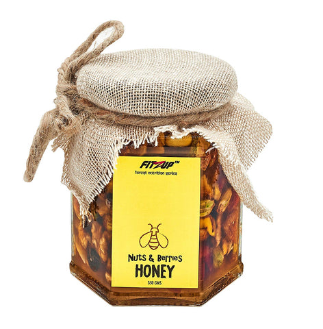 FitZup Nuts & Berries Honey. Added Nuts. All Natural. No Preservatives added Jar (350 g)