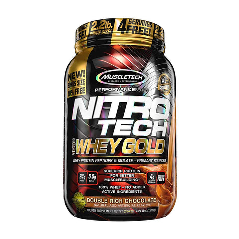 MuscleTech Performance Series NITRO TECH 100% WHEY GOLD BONUS DOUBLE RICH CHOCOLATE 2.24LBS