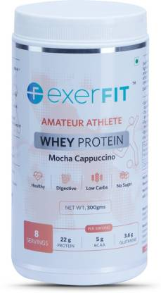 EXERFIT Amateur Athlete Whey Protein Whey Protein  (300 g, Mocha Cappuccino)