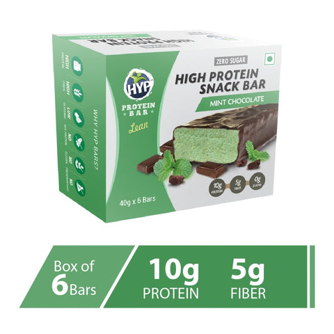 HYP Lean Sugarfree Protein Bar (10g protein) Mint Chocolate Pack of 6 (40g x 6)
