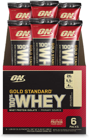 Optimum Nutrition (ON) Gold Standard 100% Whey Protein Powder Drink Travel Pack - Pack of 6 Servings