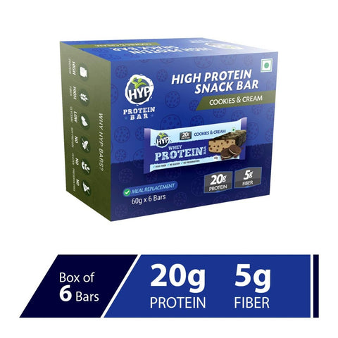 HYP Meal Replacement Whey 20g Protein Bar Pack of 6 (Cookies and Cream)