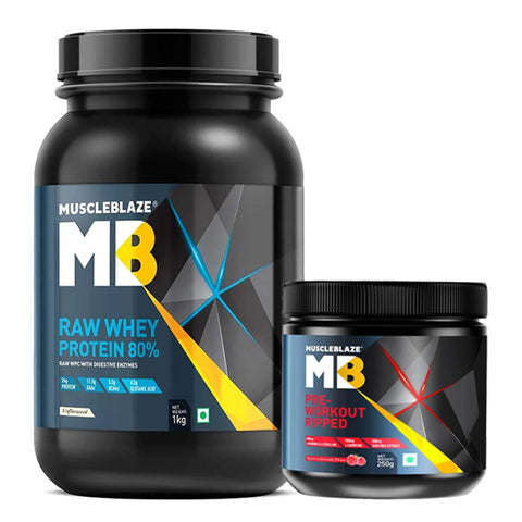 MuscleBlaze Pre Workout Ripped & Raw Whey Protein Combo