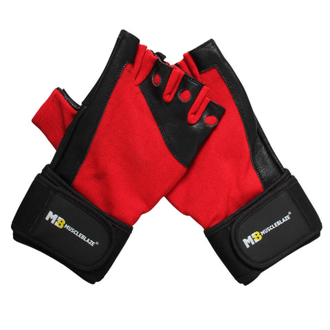 MuscleBlaze Fitness Leather Gloves, Black & Red Large