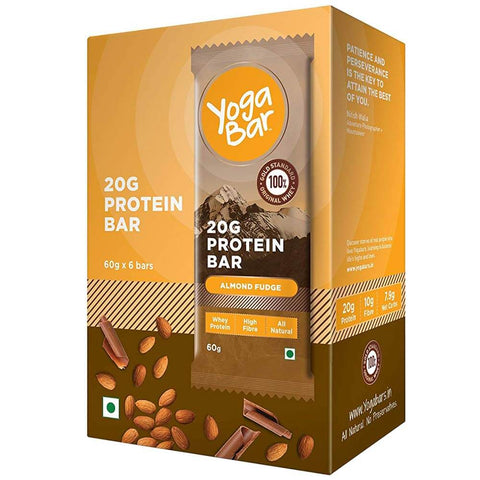 Yogabars Protein Bar, 6 Piece(s)/Pack Almond Fudge
