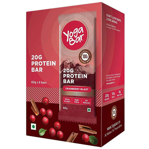 Yogabars Protein Bar, 6 Piece(s)/Pack Chocolate Cranberry