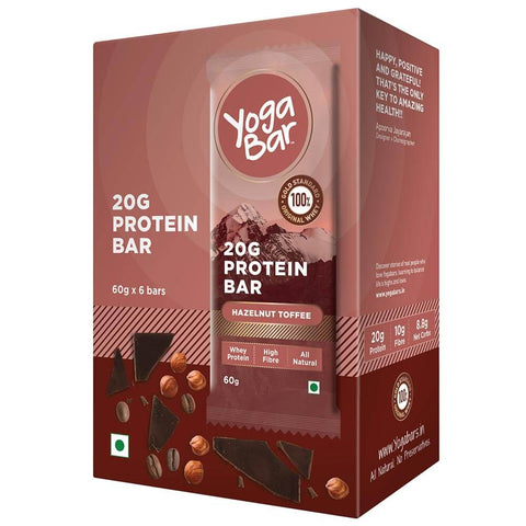 Yogabars Protein Bar, 6 Piece(s)/Pack Hazelnut Toffee