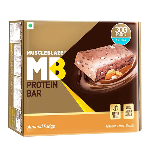 MuscleBlaze Hi-Protein Bar (30g Protein), 6 Piece(s)/Pack Almond Fudge