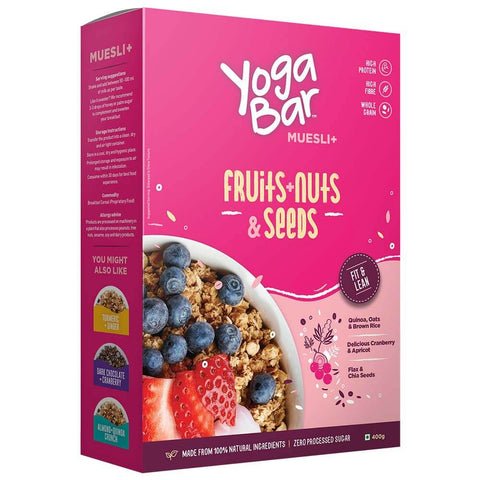 Yogabars Wholegrain Breakfast Muesli, 0.400 kg Fruits Nuts and Seeds