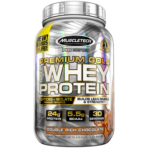 MuscleTech PRO SERIES PREMIUM GOLD 100% WHEY PROTEIN DOUBLE RICH CHOCOLATE 2.23LBS