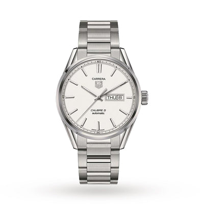 Tag Heuer Carrera Calibre 5 Day-Date Automatic White Dial Steel Men's Watch - WAR201B.BA0723