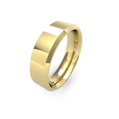 CHAMFERED EDGE 9CT GOLD WEDDING BAND HEAVY
