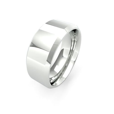 CHAMFERED EDGE 18CT WHITE GOLD WEDDING BAND HEAVY