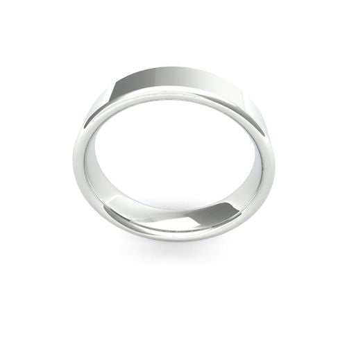 MODERN FLAT COURT PLATINUM WEDDING BAND MEDIUM