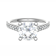 Jenna 18K White Gold Solitaire Diamond Engagement Ring