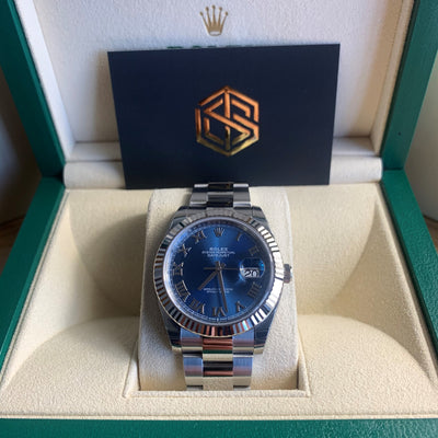 Rolex Datejust 41 126334 Blue Roman Numeral Dial Full Set Watch