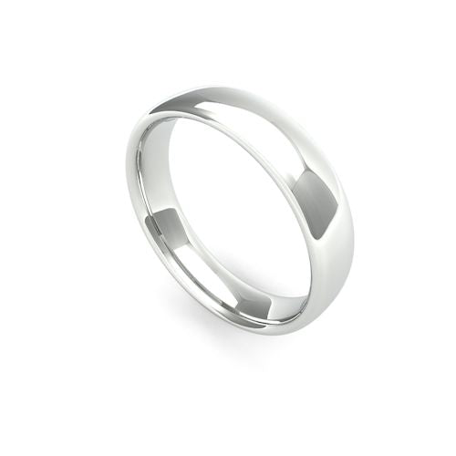 SLIGHT COURT 18CT WHITE GOLD WEDDING BAND MEDIUM