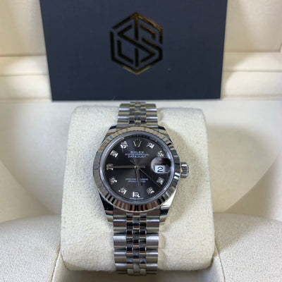 Rolex Lady-Datejust 279174 28mm Grey Diamond Dial Jubilee 2019 Watch