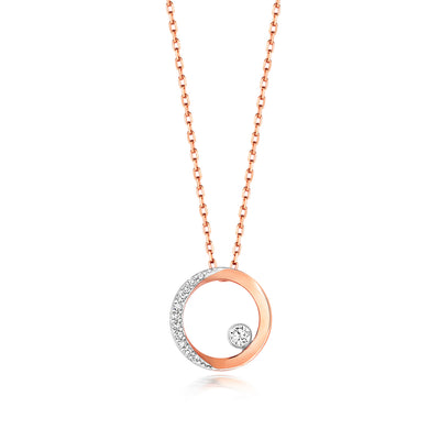 9k GOLD CIRCLE DIAMOND NECKLACE 0.06 CT DIAMOND WEIGHT