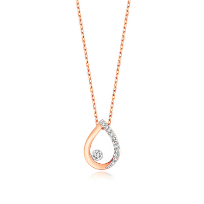 9k GOLD TEARDROP DIAMOND NECKLACE 0.06 CT DIAMOND WEIGHT